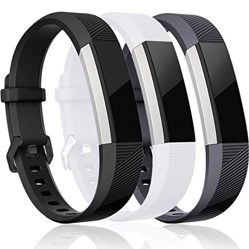 Maledan Replacement Bands Compatible for Fitbit Alta, Alta HR and Fitbit Ace, Classic Accessories Band Sport Strap for Fitbit Alta HR, Fitbit Alta and Fitbit Ace, 3-Pack, Black/White/Gray, Small