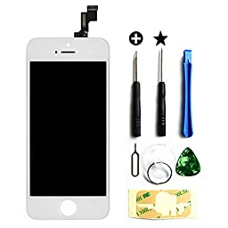 LCD Touch Screen Digitizer Frame Assembly Full Set LCD Touch Screen Replacement for iPhone 5 5G - White