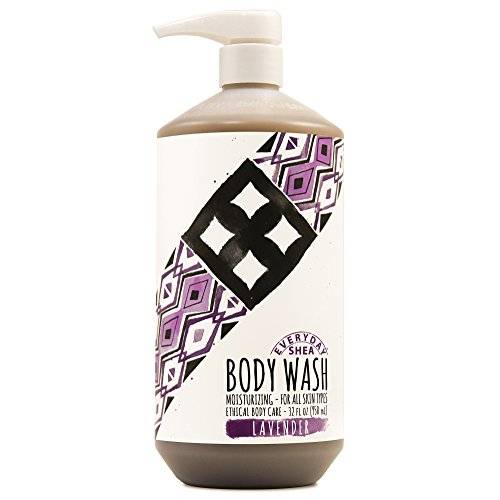 100 % Pure Shower Gel Organic Lavender - Alaffia - Everyday Shea Body Wash, Naturally Helps Moisturize and Cleanse without Stripping Natural Oils with Shea Butter, Neem, and Coconut Oil, Fair Trade, Lavender, 32 Ounces