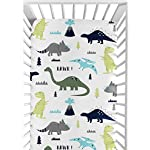 Sweet-Jojo-Designs-Fitted-Crib-Sheet-for-Blue-and-Green-Modern-Dinosaur-BabyToddler-Bedding-Set-Collection-Dinosaur-Print