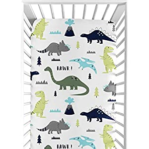 Sweet Jojo Designs Fitted Crib Sheet for Blue and Green Modern Dinosaur Baby/Toddler Bedding Set Collection – Dinosaur Print