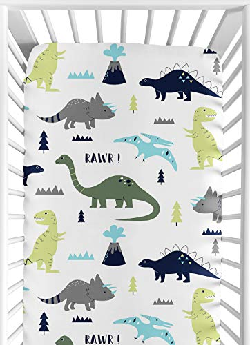 Sweet Jojo Designs Green - Sweet Jojo Designs Fitted Crib Sheet for Blue and Green Modern Dinosaur Baby/Toddler Bedding Set Collection - Dinosaur Print