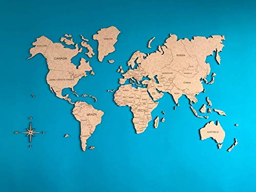Cork World Map Wall Sticker Geography Gift Idea Large Travel Wall Rustic Home decor Office Dorm Living room Interior design - By Enjoy The Wood
