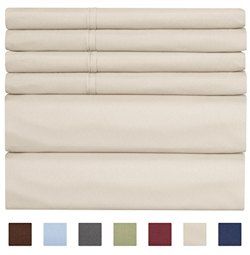 King Size Sheet Set - 6 Piece Set - Hotel Luxury Bed Sheets - Extra Soft - Deep Pockets - Easy Fit - Breathable & Cooling Sheets - Wrinkle Free - Tan - Beige Bed Sheets - Kings Sheets - 6 PC - Extra Deep Pocket Bed Sheets