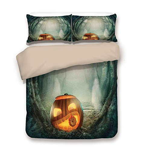 iPrint Duvet Cover Set,Back of Khaki,Halloween Decorations,Scary Halloween Pumpkin Enchanted Forest Mystic Twilight Party Art,Orange Teal,Decorative 3 Pcs Bedding Set by 2 Pillow Shams,Twin