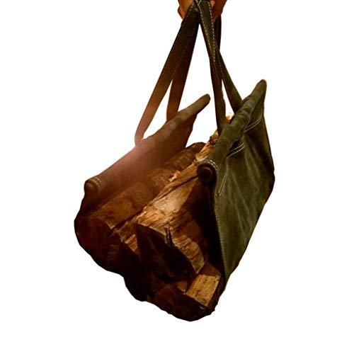 (Mack&G's The Log Lover- Suede Firewood Log Carrier Sling (Shark Grey))