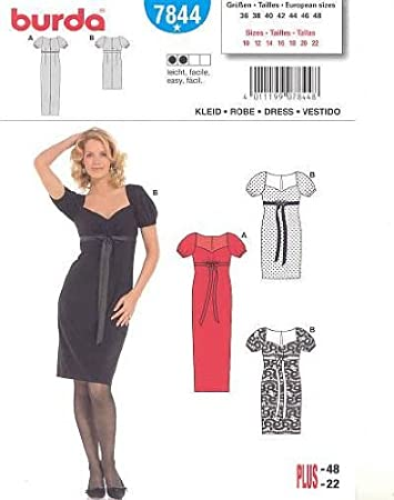 Schnittmuster Burda 7844 Kleid Gr. 36-48: Amazon.de: Küche & Haushalt