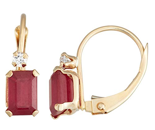 (10K Gold Emerald Cut Created Ruby Leverback)