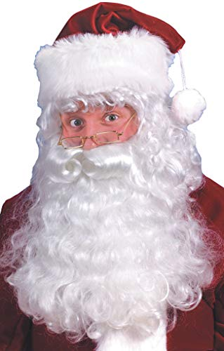 Fun World Costumes Men's Quality Santa Beard and Wig Set, White, One -