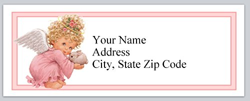 (120 Personalized Return Address Labels Cute Baby Angel with bunny rabbit (bx 121))
