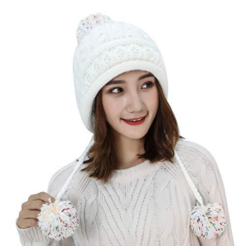 Womens Peruvian Cable Beanie - HUAMULAN Women Fleece Peruvian Skull Beanie Hat Sparkle Winter Ski Earmuffs Chunky Ear Flaps Caps Pompoms