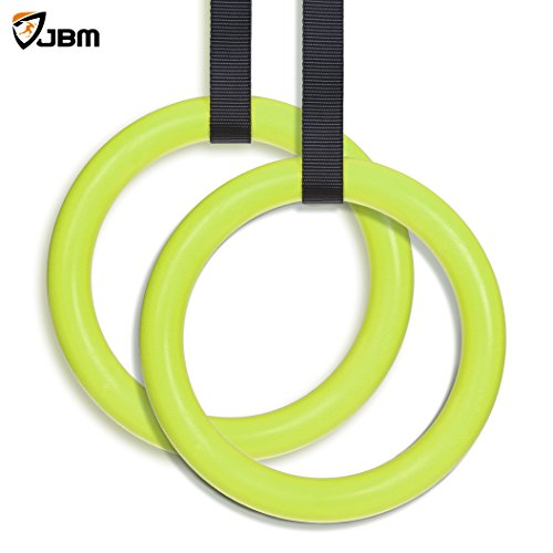 JBM Gymnastics Rings with Adjustable Straps Pull Up Fitness Exercise Rings for Crossfit Training, Organized Storage Full Body Olympic Strength Training Pull Ups and Dips (Green) For Sale