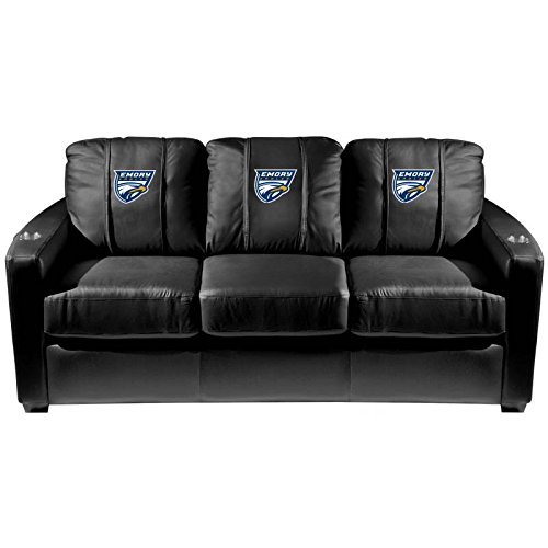 XZipit College Silver Sofa with Emory Eagles Logo Panel, Black
