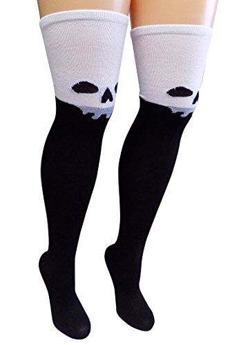 Thigh High Boots Halloween (So Sydney Women's Teen Girls Over the Thigh Halloween Scary Costume High Socks (Skeleton Skull))