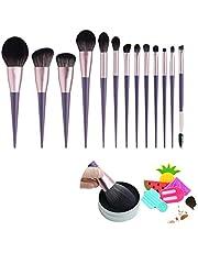 Makeup Brush Set 13 Pcs Premium Synthetic Foundation Powder Concealers Eye shadows Blush Makeup Brushes Purple Cosmetic Brushes(Free Gift: Brush Cleaner))