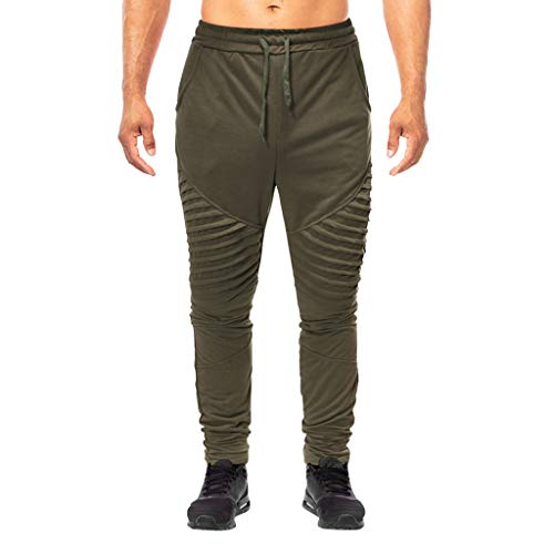 Fashion Men's Summer Solid Casual Sports Running Elastic Drawstring Trousers, MmNote Army Green -