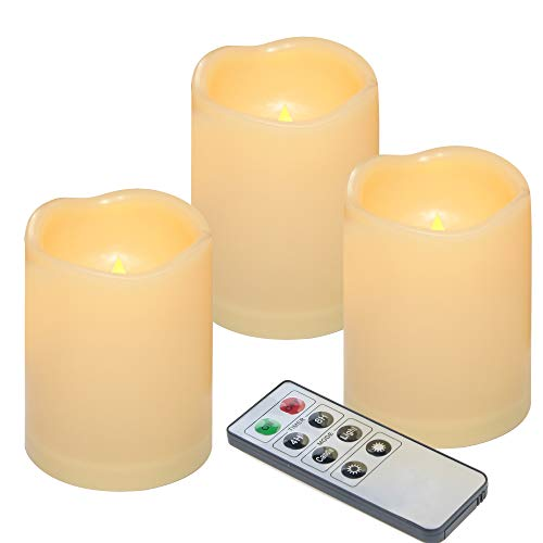 Outdoor Flameless LED Waterproof Pillar Candle with Remote Timer Battery Operated Indoor Plastic Flickering Decorative Candle Lights for Home Garden Wedding Birthday Party Décor Gift Choice 3-Pack from Qidea