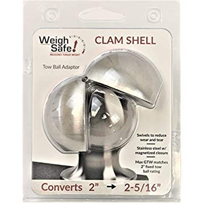 Weigh Safe WS07 Stainless Steel Clam Shell Tow Ball Adapter - Converts 2 Inch tow balls to 2-5/16 Inch - Universal Fit. Designed to both simplify and Safeguard your Towing Experience: Automotive