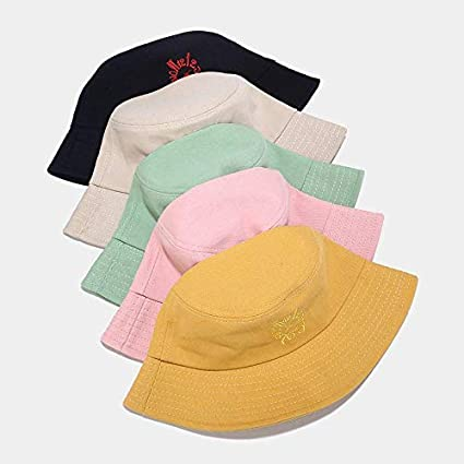 ideal for outdoor activities Unique clock embroidery bucket hat unisex printed fisherman hat summer foldable sun hat