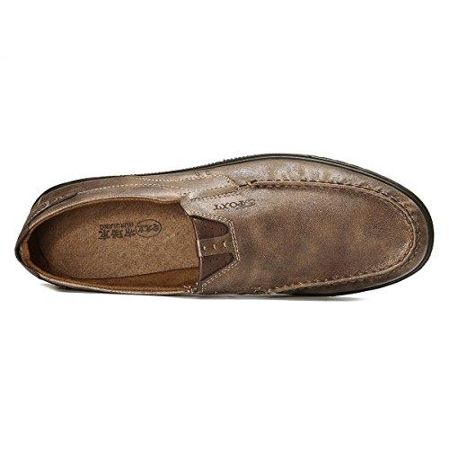 Traspirante Piatte Scarpe Mocassini Loafers da Ufficio Scarpe Classico in Mocassini Smart Lavoro da Mocassini Gracosy On Pelle Casual Scarpe Slip Casuale Uomo Comfort Cachi IHdw4Rax
