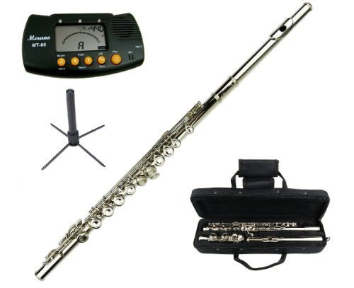 Merano Silver Nickel Flute with Carrying Case+Metro Tuner+Stand