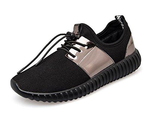 Beauqueen Zapatillas de deporte Bluchers hueco transpirable no deslizante casual deportivo calzado deportivo UE tamaño 35-44 Black