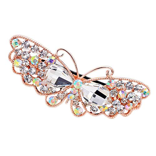 - AMBER DAVIDSON 1 Pcs Vintage Crystal Butterfly Flower Hairpins Hair Clip Elegant Women Rhinestone Barrette Headwear,White