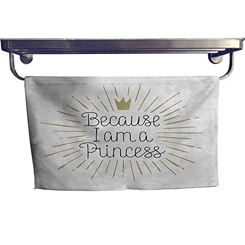 sunsunshine I am a Princess Customized Bath Towel Combination Because I am A Princess Calligraphy Hand Drawn Lettering Crown Fancy Hand Towels Set W 20