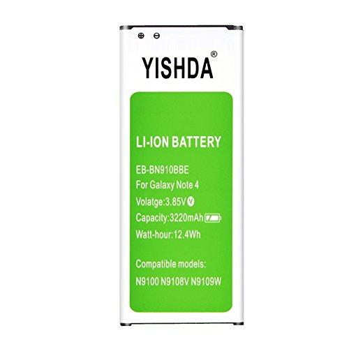 YISHDA Note 4 Battery 3220mAh Li-ion Galaxy Note 4 Battery for The Samsung Note 4 N910, N910U N910V N910T N910A N910P | Replacement Samsung Note 4 Battery [18 Month Warranty]