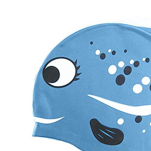 Hrph Nette reizende Karikatur-Fisch-Schwimmen-Kappe f/ür Kinder Kinder Reines Silikon Badekappen Schwimmen Sport Zubeh/ör