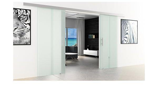 Dorma ágil 50 puertas correderas de cristal-carril 2 galvanizada | Discos: 900 x 2050 mm de cada disco | Barras de asas de movimiento de carril: Dorma ágil 50 EV1 para más