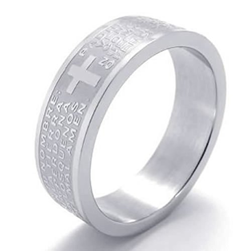 Stainless Steel Rings Men's Bands CZ Couples Black Silver Epinki - 3