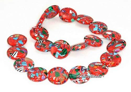 - 20MM Matrix Turquoise Gemstone RED Mosaic Flat Round Circle Loose Beads 15.5