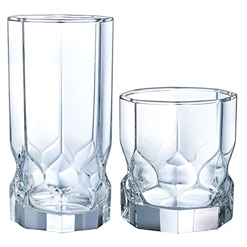 Luminarc N7408 Topaz 16 Piece Tumbler Set, 8-16 Ounce Coolers & 8-10 Ounce On The Rocks Glass, Clear
