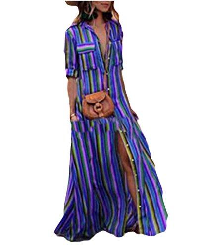 Camicia Blu Flowy Stampato Allentato Strisce Donne Vestito A Maxi Spiaggia Cromoncent ZAP1RP