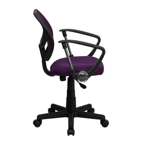 Flash Furniture Mid-Back Purple Mesh Swivel Task Chair with Arms