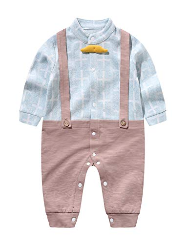 D.B.PRINCE Baby Boys Long Sleeves Gentleman Cotton Rompers Clothes Small Suit Bodysuit Outfit with Bow Tie (Blue01, 0-3 Months)