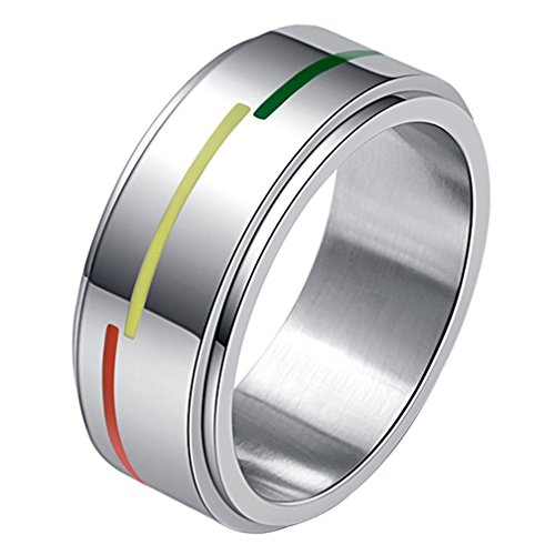 INRENG Stainless Steel 8mm Rainbow Flag Spinner Rings for Men LGBT Pride Gay Lesbian Wedding Band Size 8