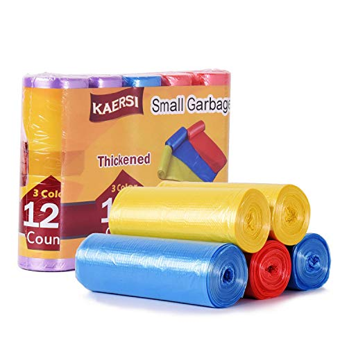 KAERSI Thicken Small Trash Bags for Office,Home Waste Bin, 4 Gallon, 125 Counts 3 Color (Yellow-Blue-Red) ()