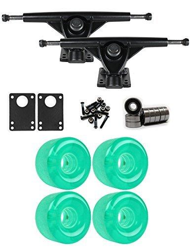 RKPブラックLongboard Trucksホイールパッケージ65 mm x 44 mm 83 a 3265 Cグリーンクリア [並行輸入品]   B078WVL7K7