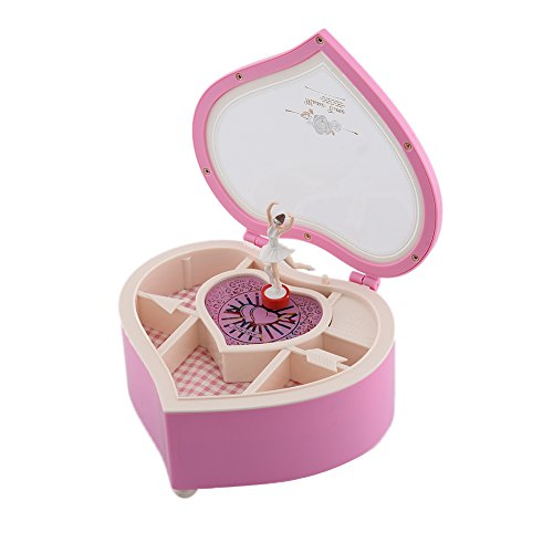 Ballerina Music Box for Girl, Heart-Shaped Musical Box Figurine with Plastic Little Ballet Girl (Pink - Single -