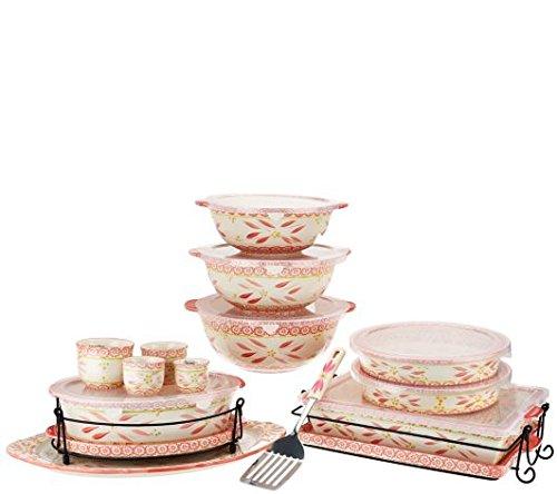 Temp-tations Old World 18-pc Bake and Serve Set - Hot Pink