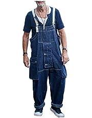 neveraway Mens Multi-Pockets Denim Fashion Bib Overall Regular Fit Jean