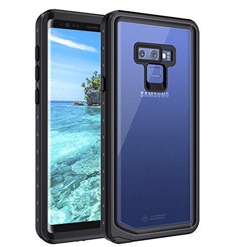 Casetego Compatible Galaxy Note 9 Waterproof Case,Underwater Cover Full Body Protective Snowproof Dirtproof Shockproof IP68 Certified Waterproof Case for Samsung Galaxy Note 9,Black/Clear