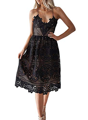 AlvaQ Women Lace Dress Sexy V Neck Spaghetti Strap Cocktail Party Midi Long Dress for Party Wedding Guest Black Small