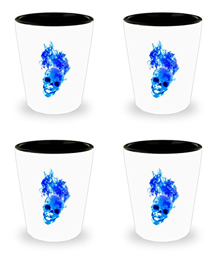 Blue flaming Skull Shot Glasses Set of 4 - halloween -
