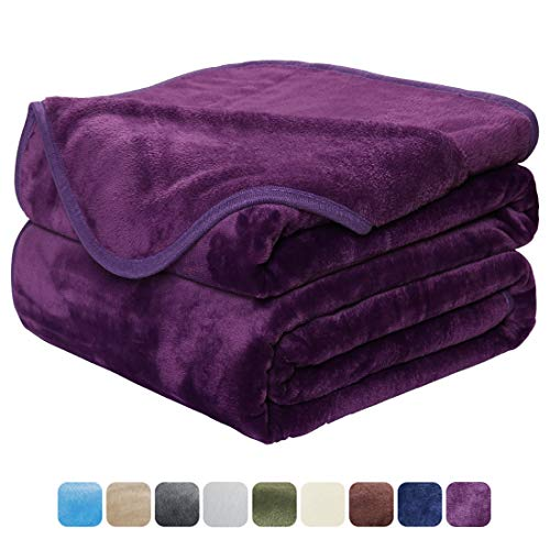 (EASELAND Soft Blanket Travel Size Summer Blanket All Season Warm Fuzzy Microplush Lightweight Thermal Fleece Blankets for Couch Bed Sofa,Throw,50x61 inches,Purple)