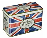 A vintage ''distressed'' Union Jack design tea tin with embossed detail, containing 40 English Breakfast Teabags