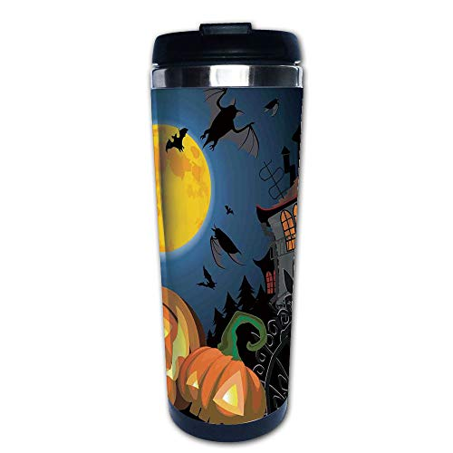 Stainless Steel Insulated Coffee Travel Mug,Halloween Haunted House Party Theme Decor Trick,Spill Proof Flip Lid Insulated Coffee cup Keeps Hot or Cold 13.6oz(400 ml) Customizable printing ()