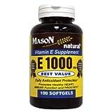 MASON NATURAL – Special – E-1000 DL ALPHA SOFTGELS 100 per bottle (SINGLE BOTTLE) Review